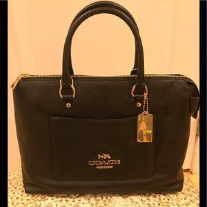 NWT: Coach pebble leather black Emma satchel